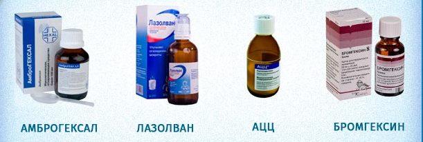 Амброгексалом, Лазолваном, Амброксолом, Беродуалом, Беротеком, Хлоридом натрия.