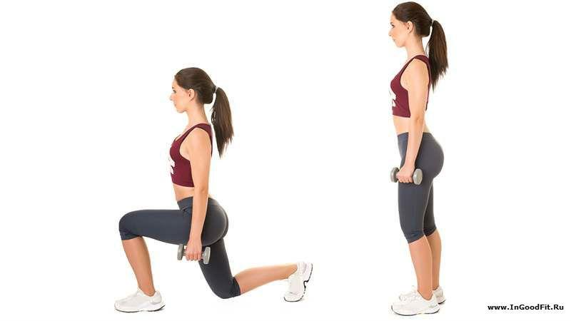 упражнения с собственным весом. выпад с гантелями